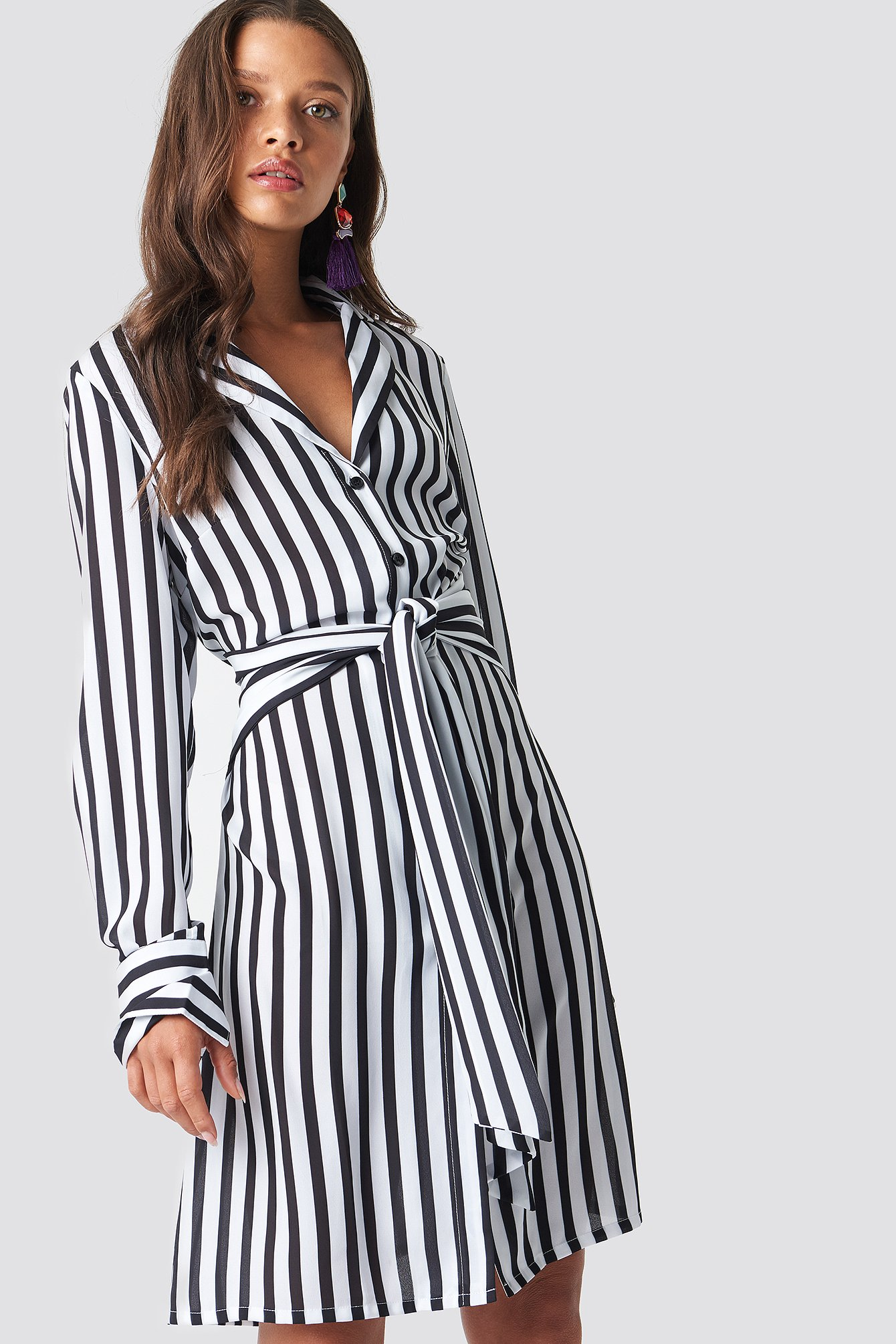 Black/White Tied Waist Striped Dress