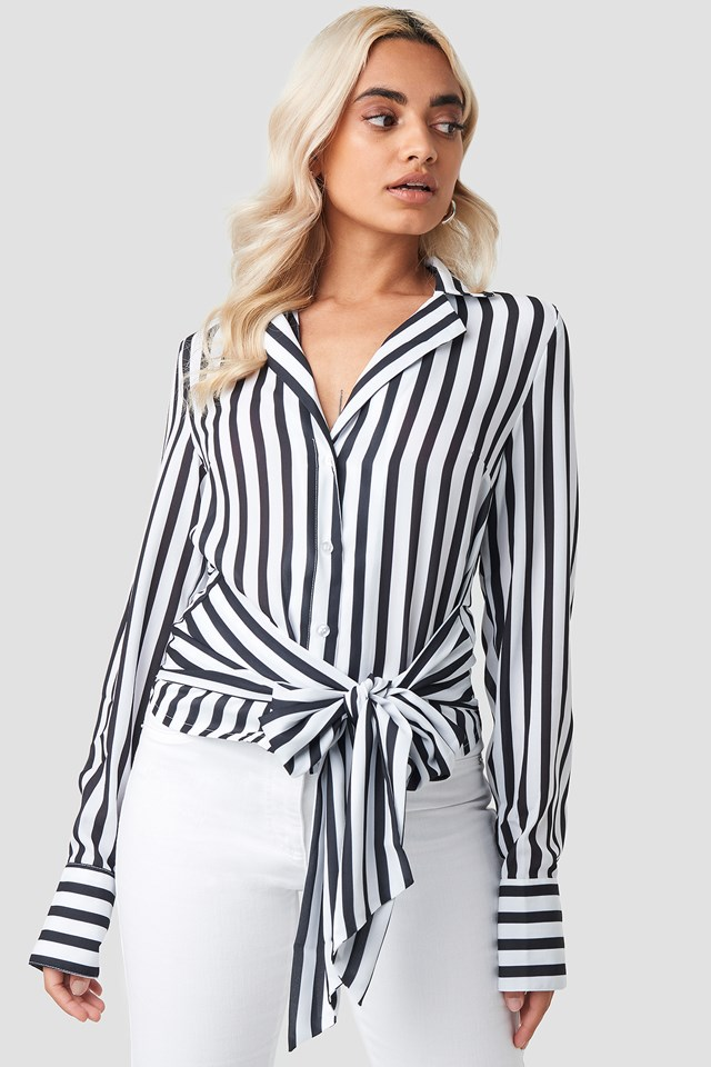 Tied Waist Striped Shirt NA-KD Trend