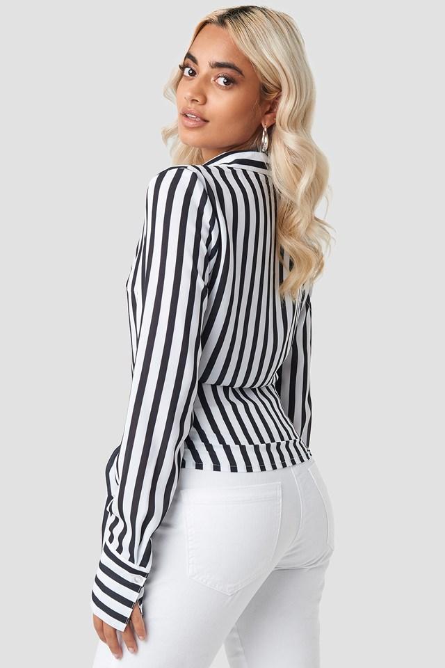 Tied Waist Striped Shirt Stripe