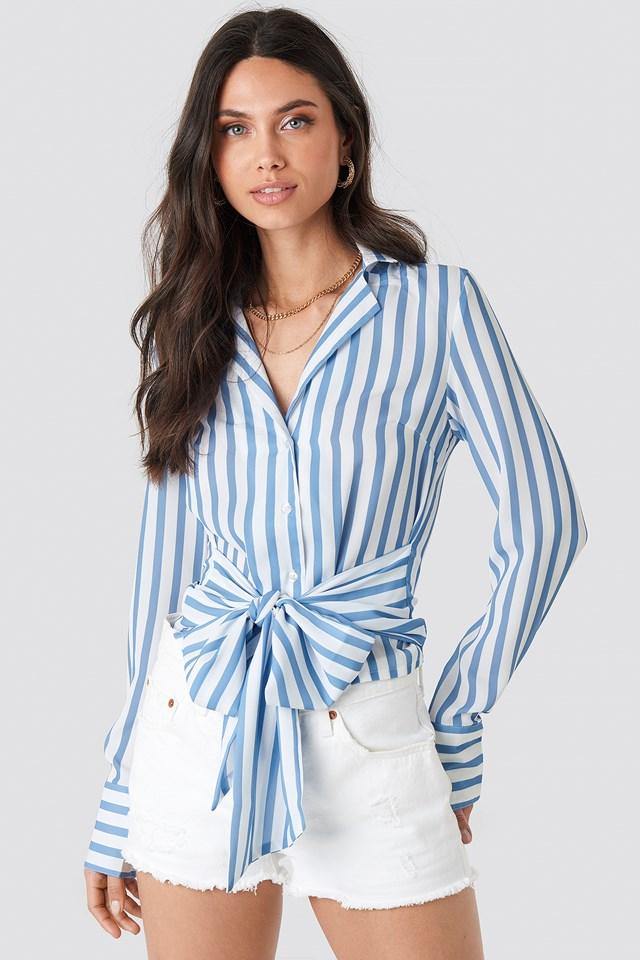 Tied Waist Striped Shirt Blue/White