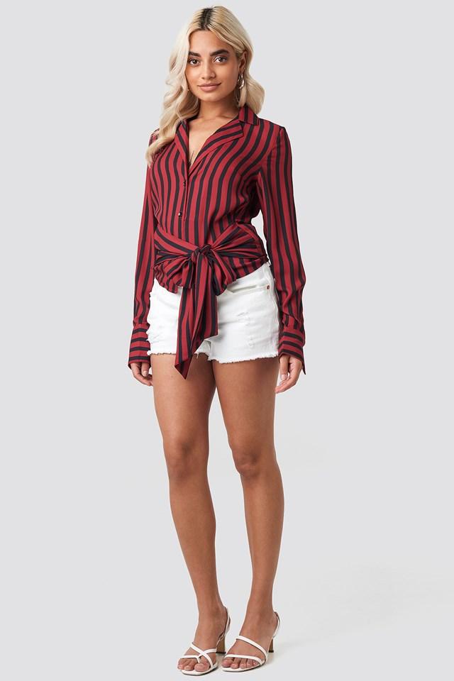 Tied Waist Striped Shirt Black/Red