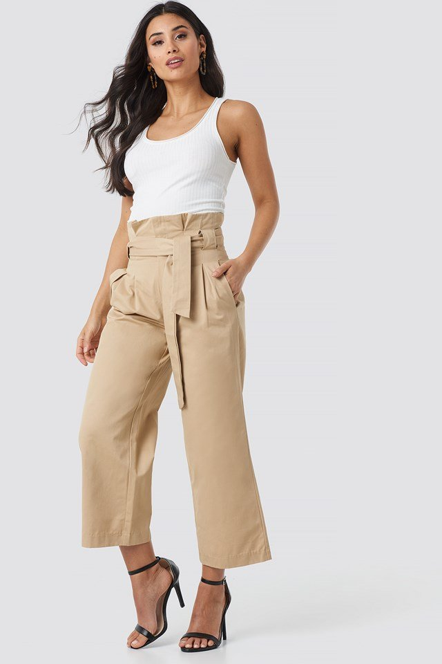 Tied Waist Wide Cotton Pants NA-KD Trend