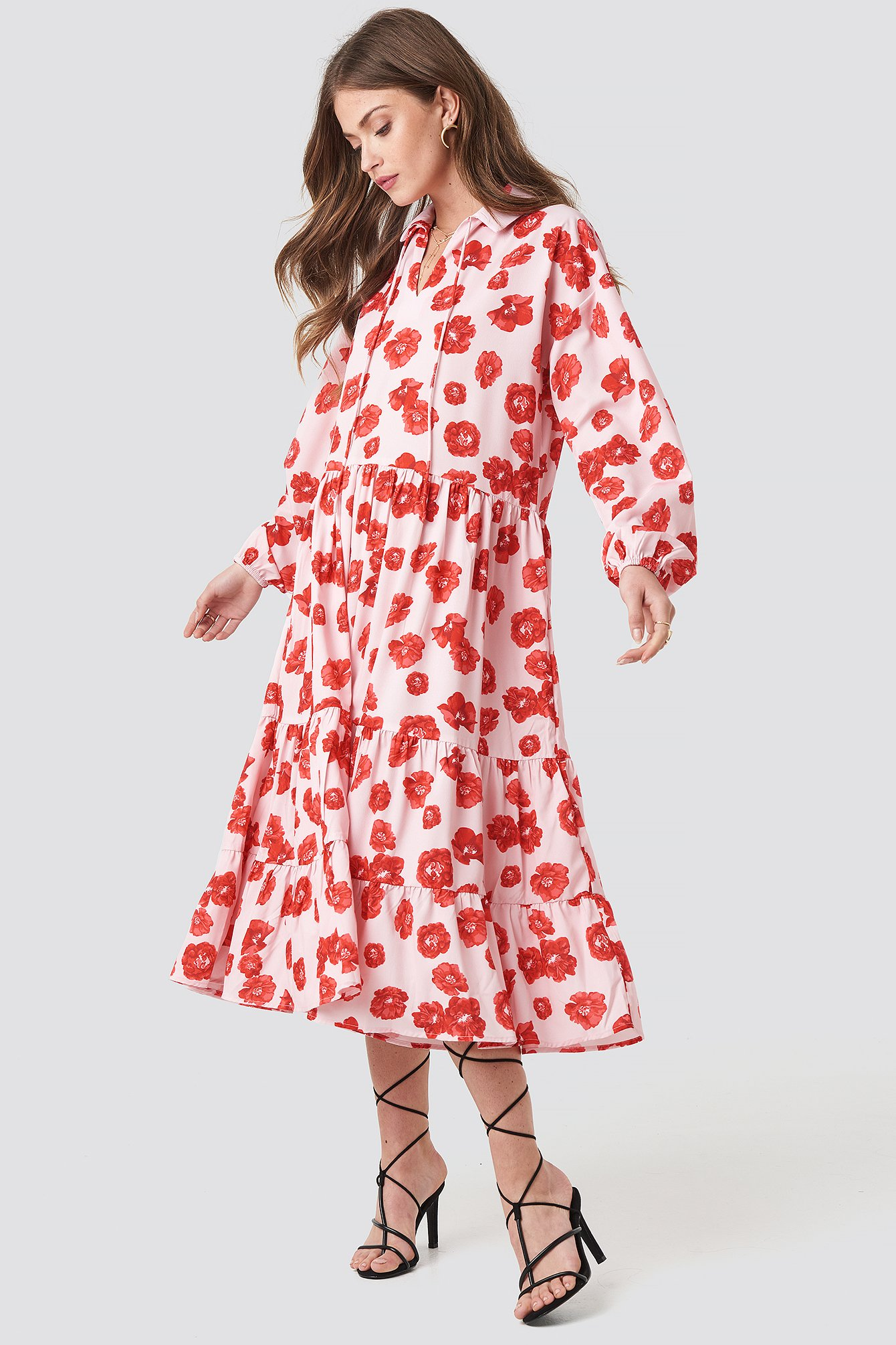 na-kd boho -  Tiered Detail Balloon Sleeve Dress - Pink,Red
