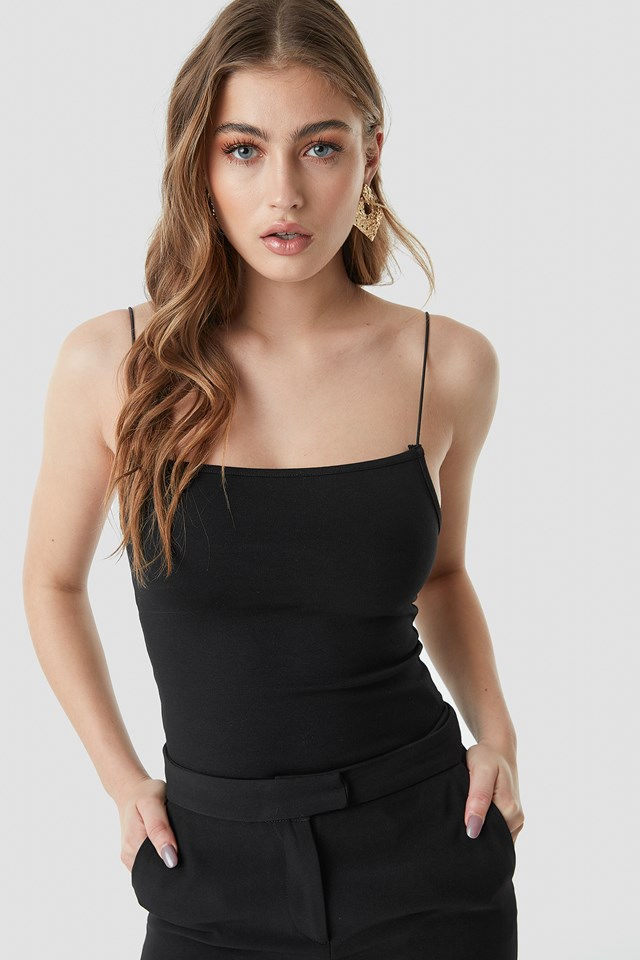 Tight Spaghetti Strap Singlet Black