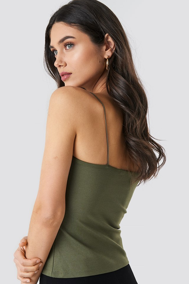 Tight Spaghetti Strap Singlet Khaki Green