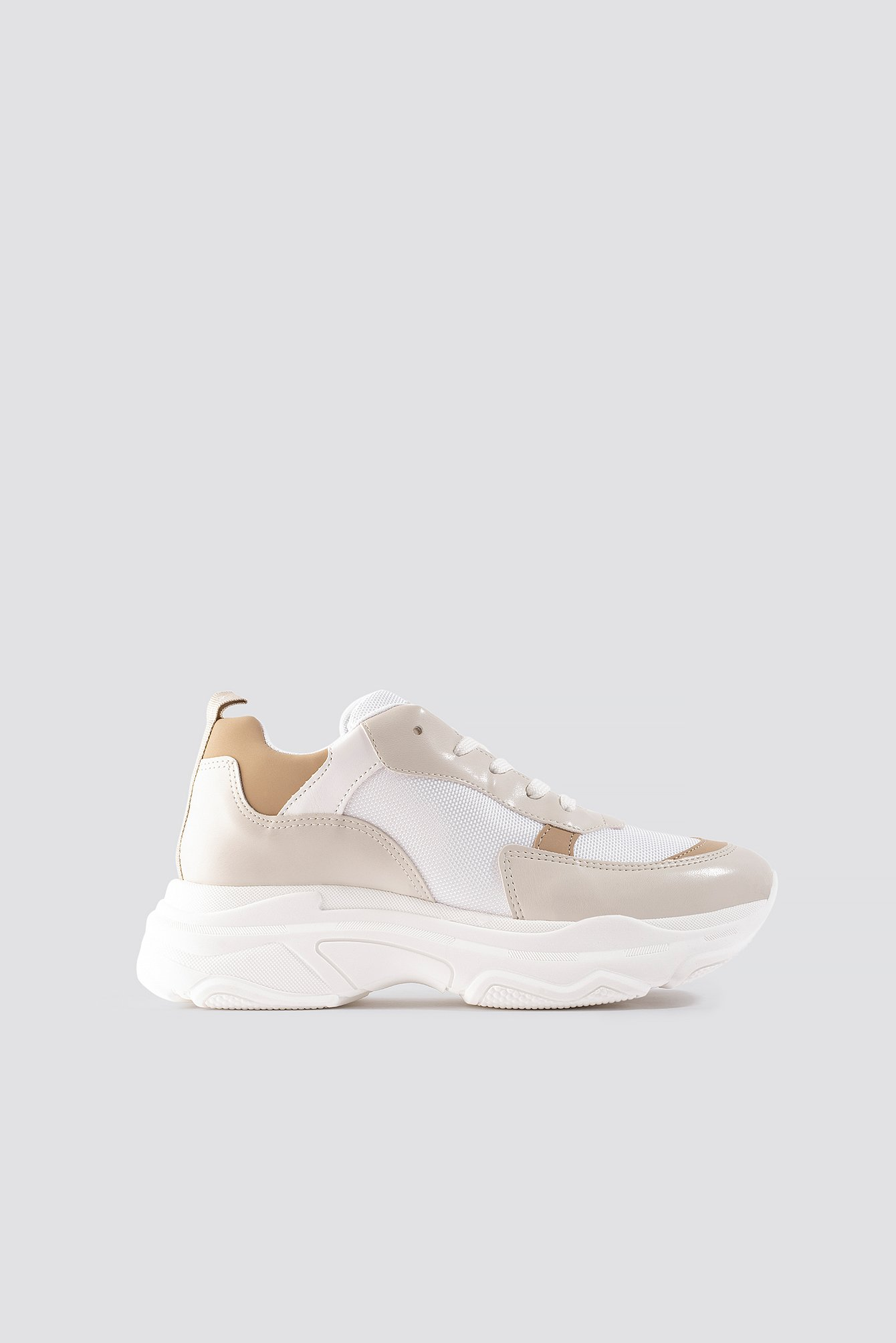 na-kd shoes -  Tone In Tone Chunky Trainers - White,Beige