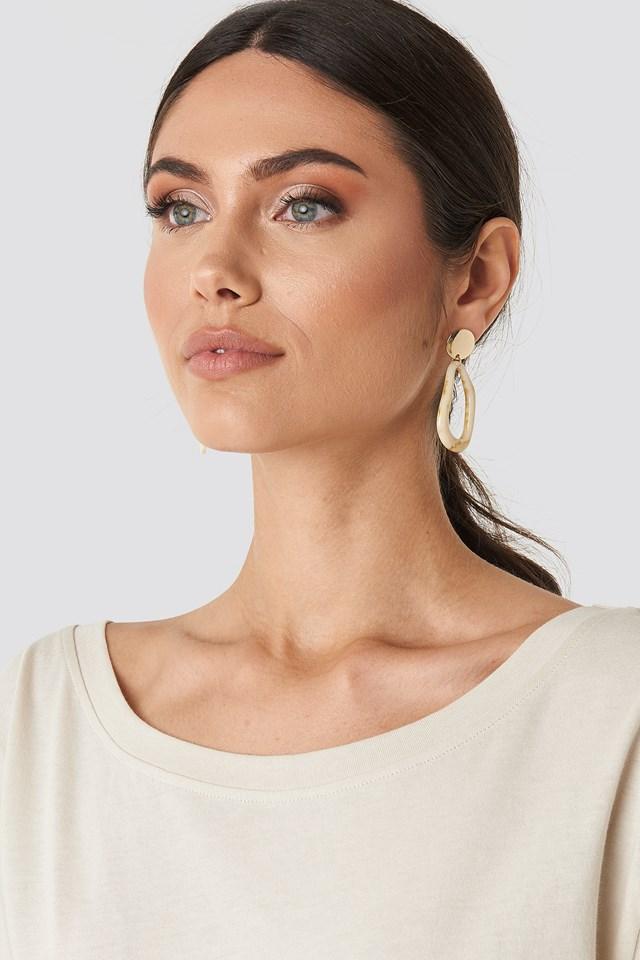 Top Bead Resin Earrings Nude