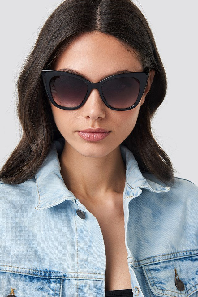 Top Edge Cateye Sunglasses Black
