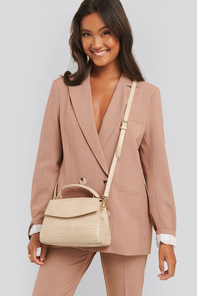 Top Handle Croc Bag Nude