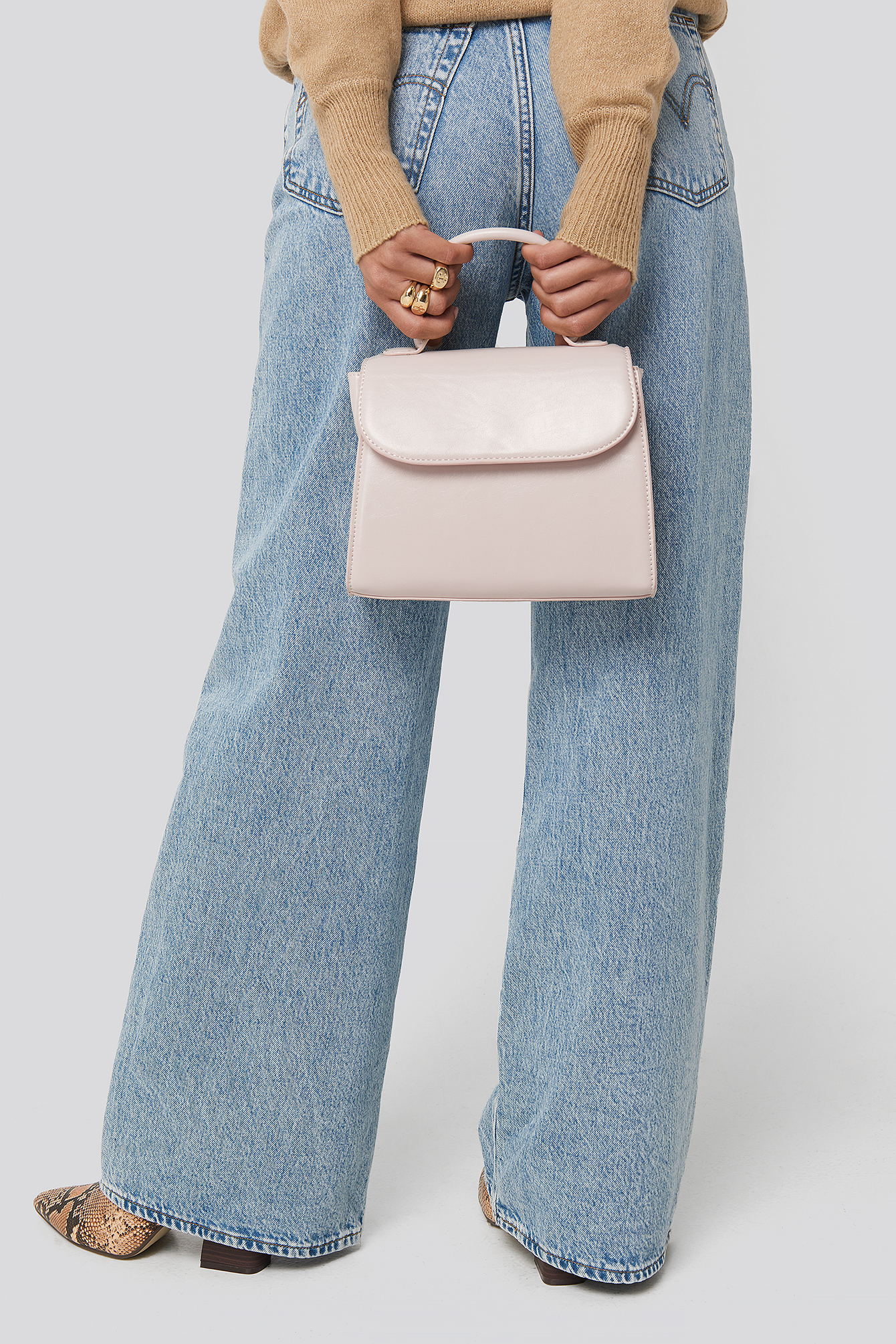 Gloss Offwhite Top Handle Crossbody Bag