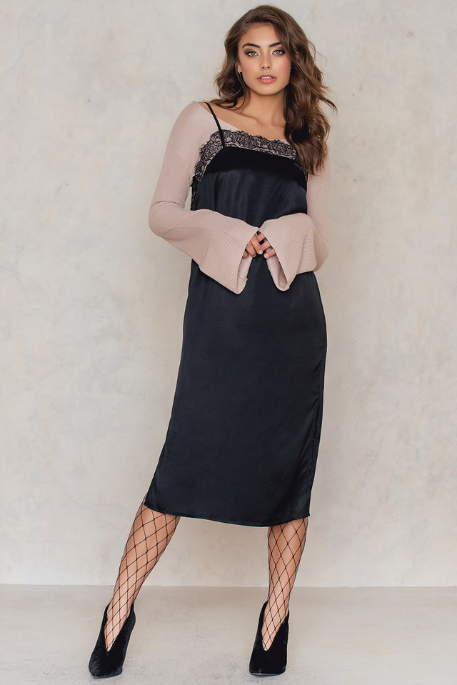 Lace Top Part Slip Dress Black
