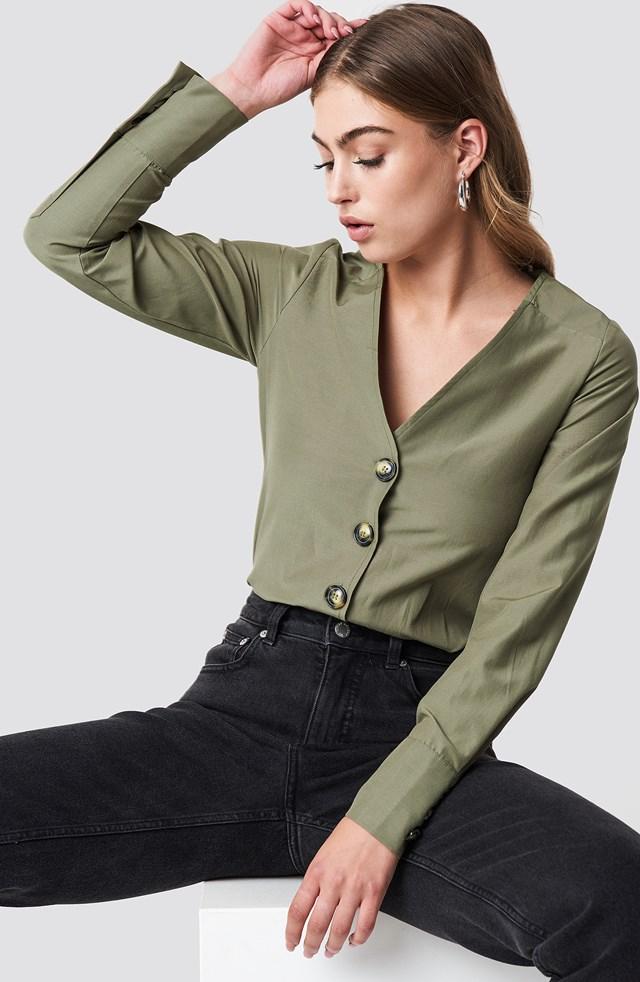 Bluzka z guzikami Khaki Green