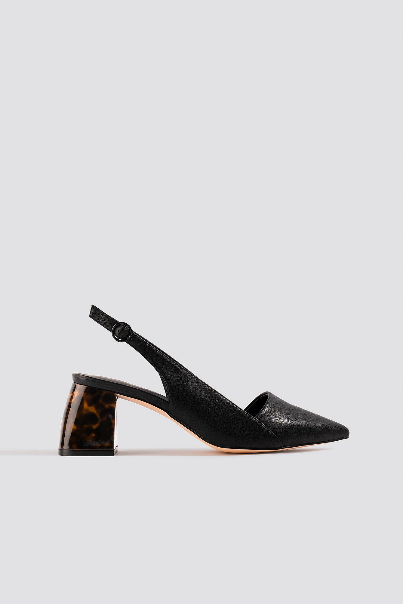 na-kd shoes -  Tortoise Heel Slingback Pumps - Black