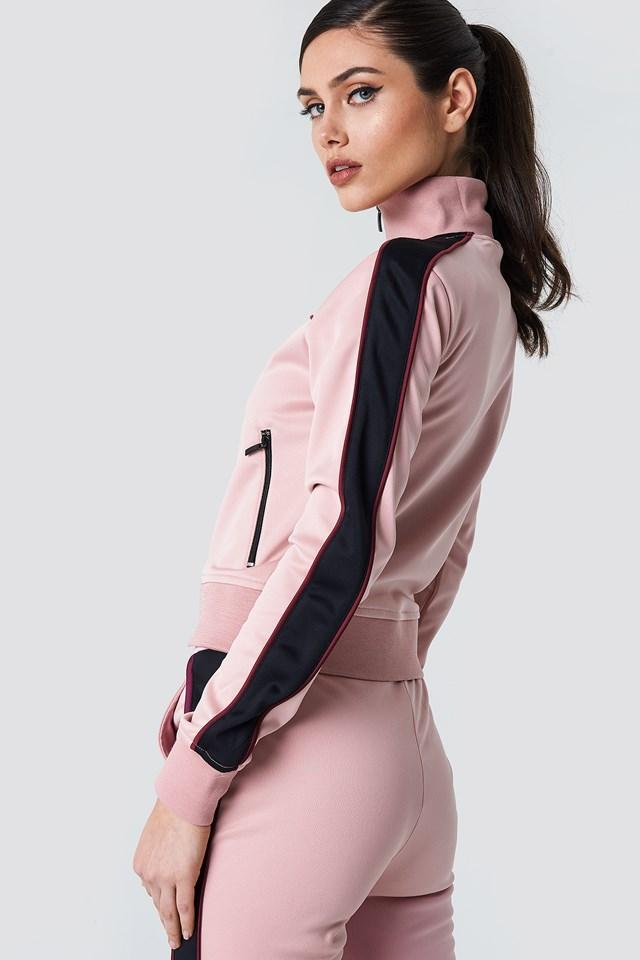 Track Zipped Sweater Pink