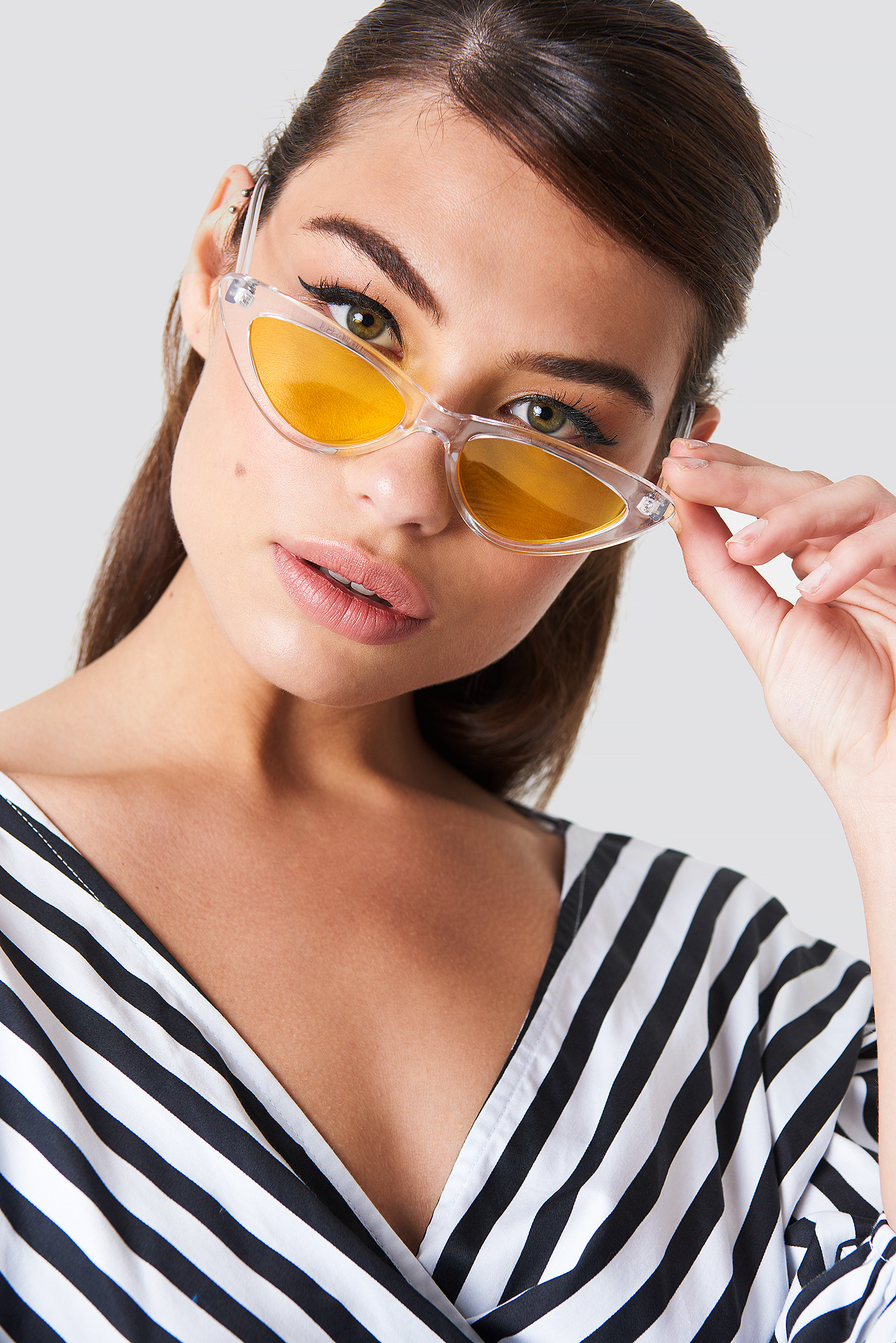 na-kd accessories -  Transparent Cateye Sunglasses - Yellow