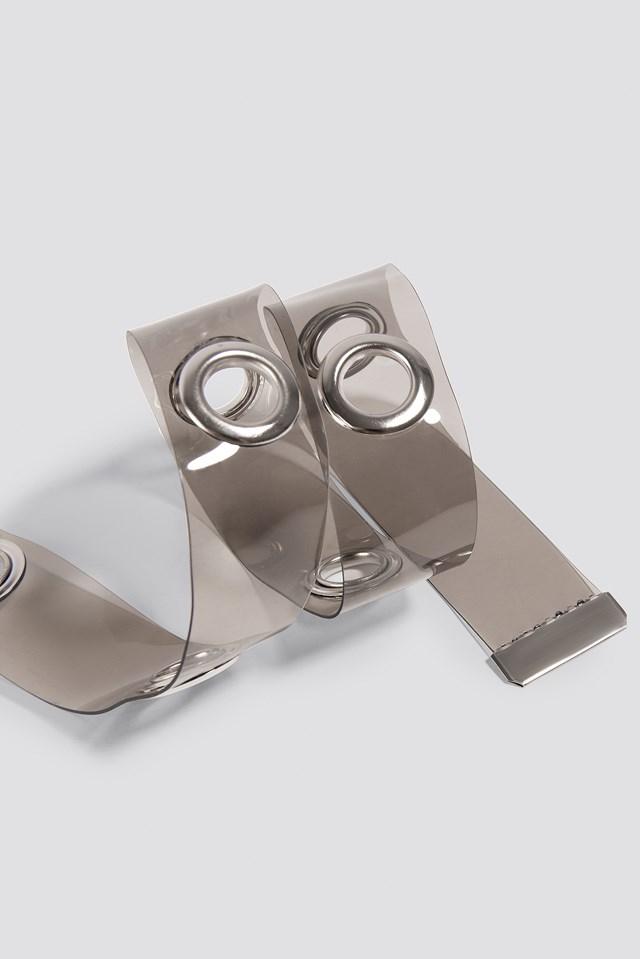 Transparent Eyelet Belt Grey