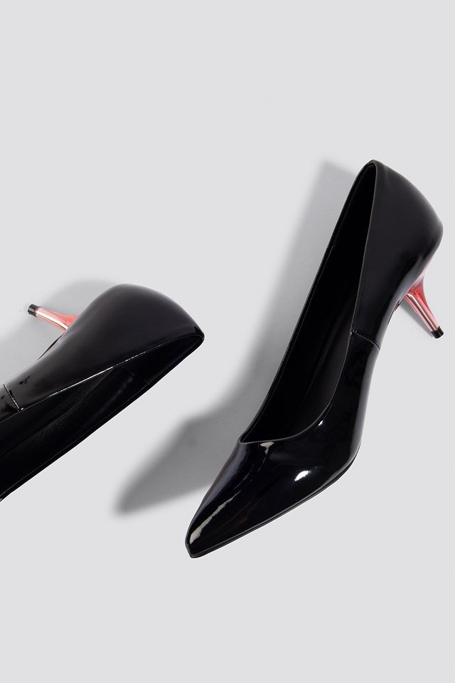 Transparent Heel Patent Pumps Black/Red