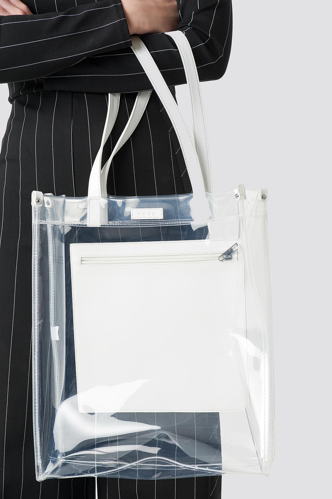 na-kd accessories -  Transparent Tote Bag - White