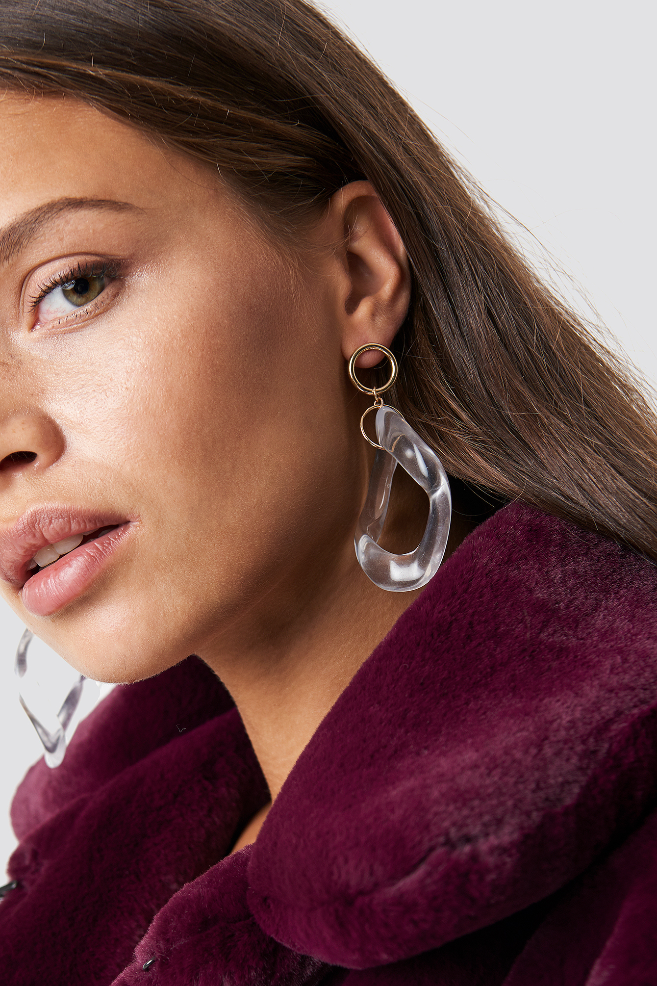 na-kd accessories -  Transparent Wave Hoop Earrings - White,Gold