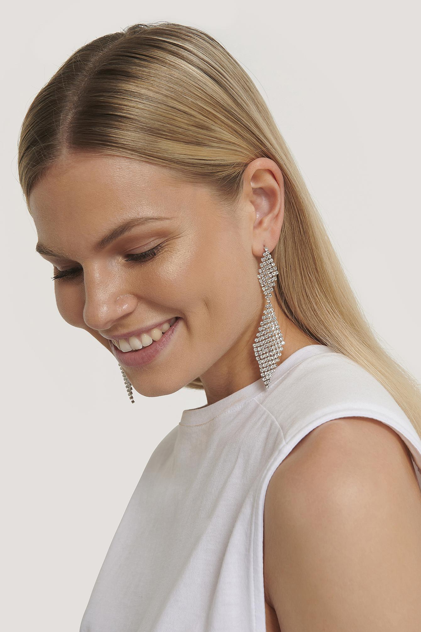 na-kd accessories -  Strassstein Tropfen Ohrringe - Silver