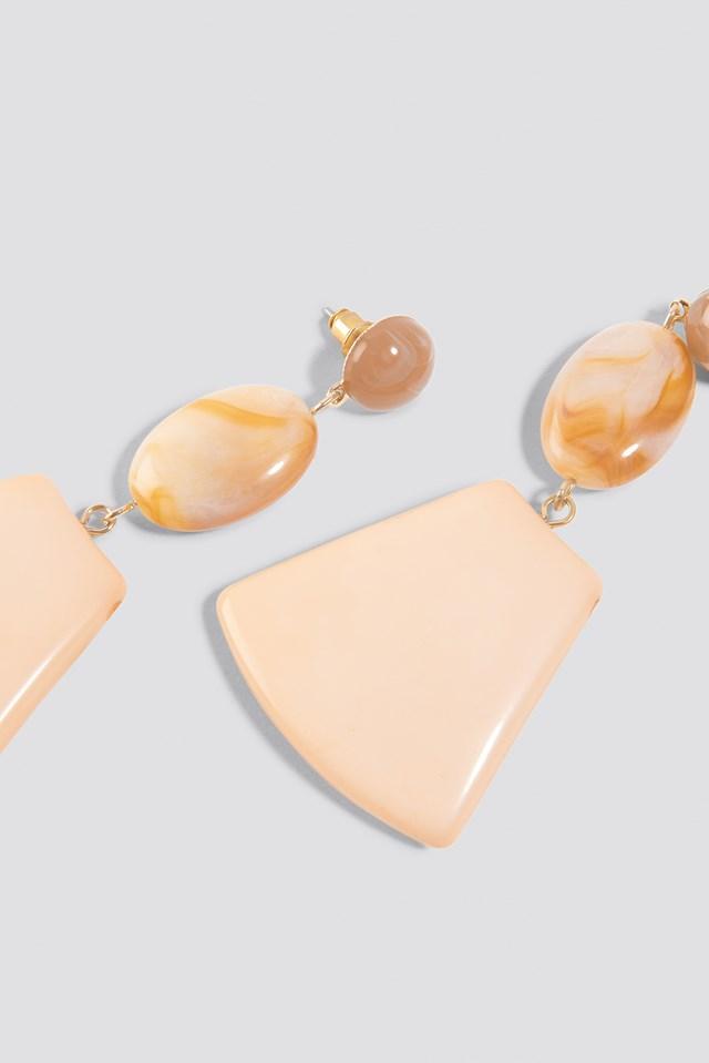 Trapezoid Stone Earrings Peach