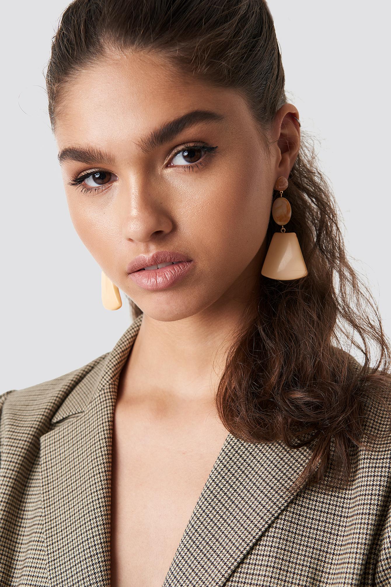 na-kd accessories -  Trapezoid Stone Earrings - Orange,Nude