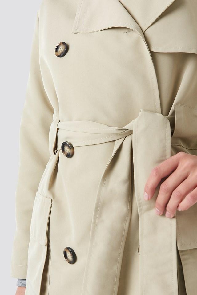Pocket Detail Trenchcoat Beige
