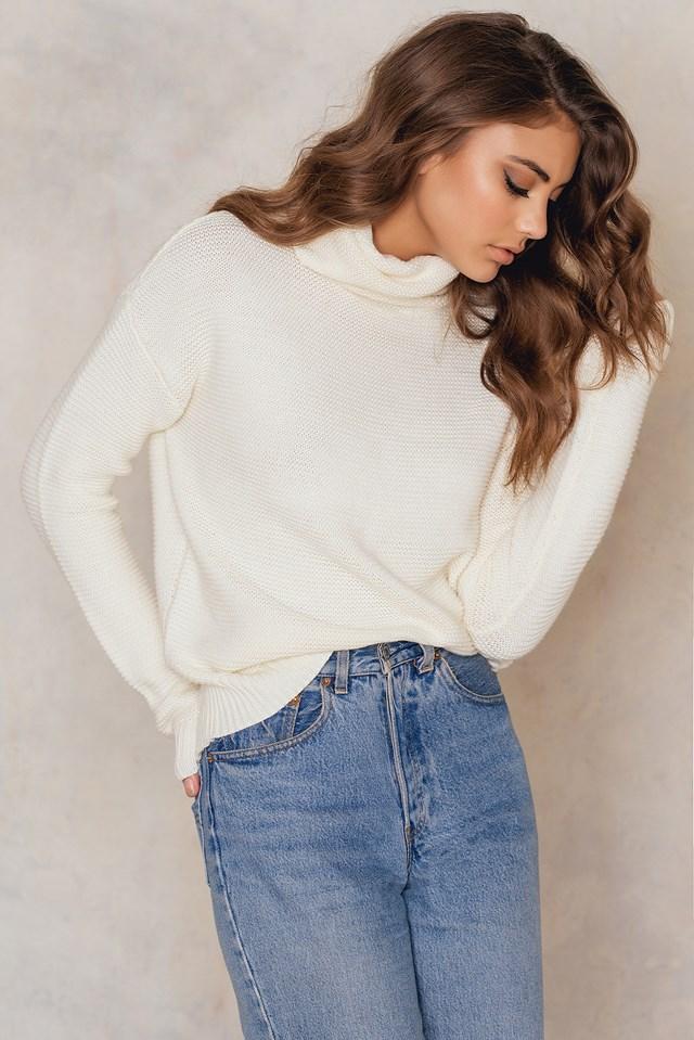 Big Roll Neck Sweater White