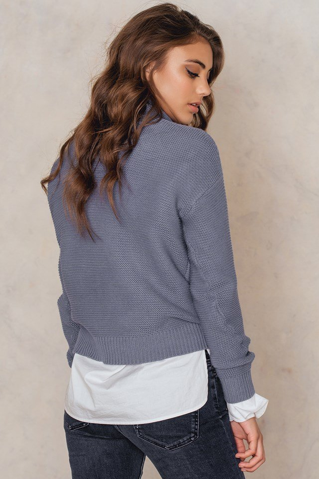 Big Roll Neck Sweater Dusty Blue