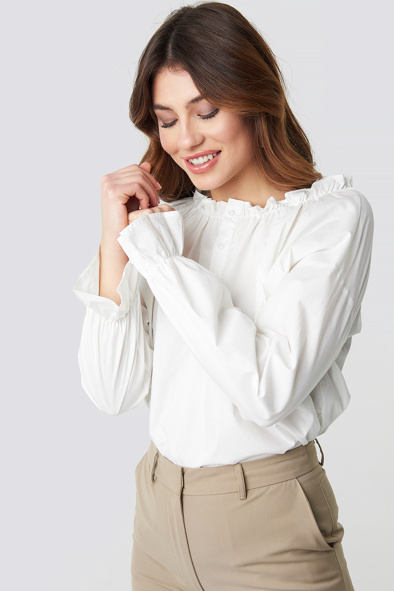 Gathered Neckline Blouse NA-KD.COM