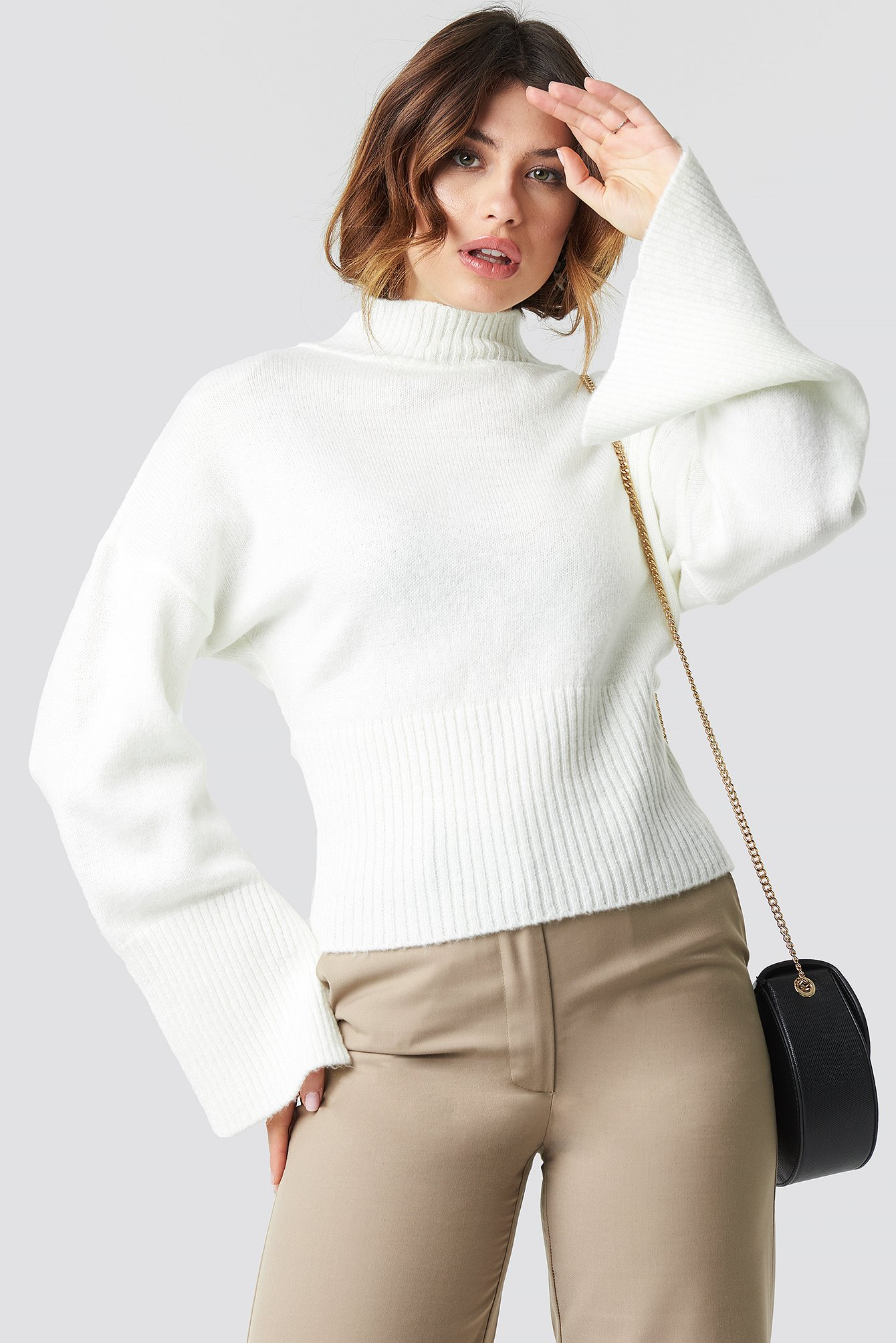na-kd trend -  Open Sleeve Knitted Sweater - White