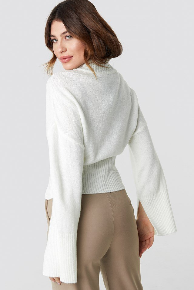 Open Sleeve Knitted Sweater Offwhite