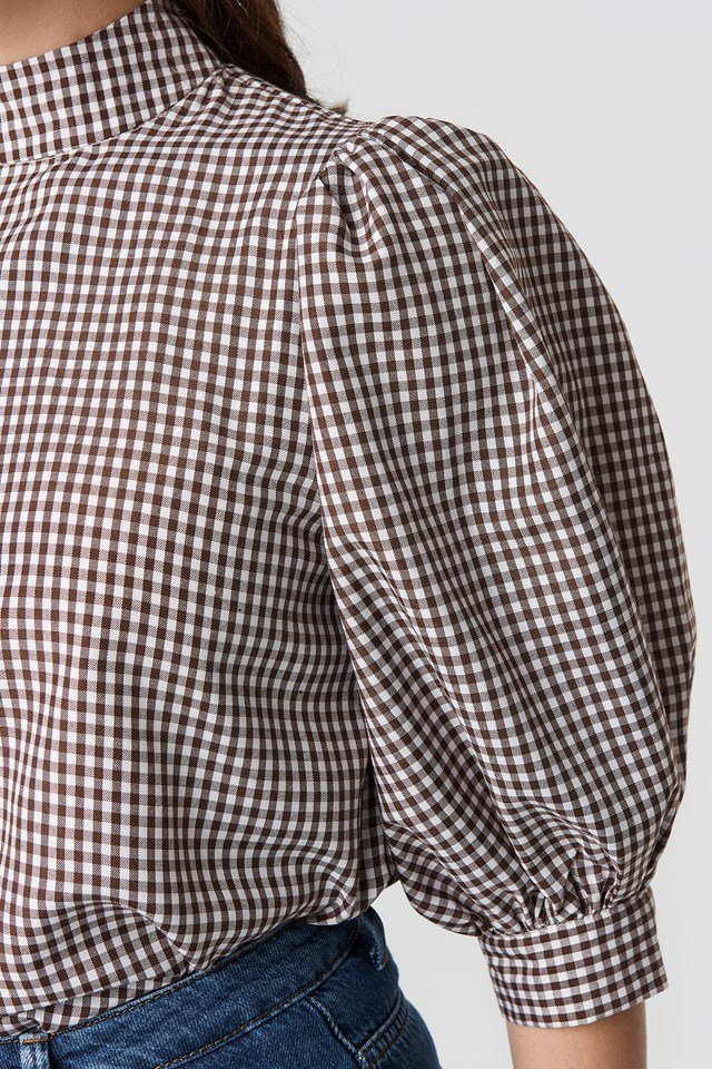 Puff Sleeve Blouse Checked