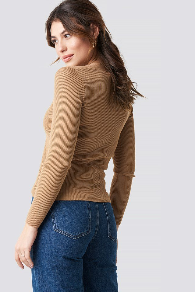 Ribbed Buttoned Sweater Dark Sand
