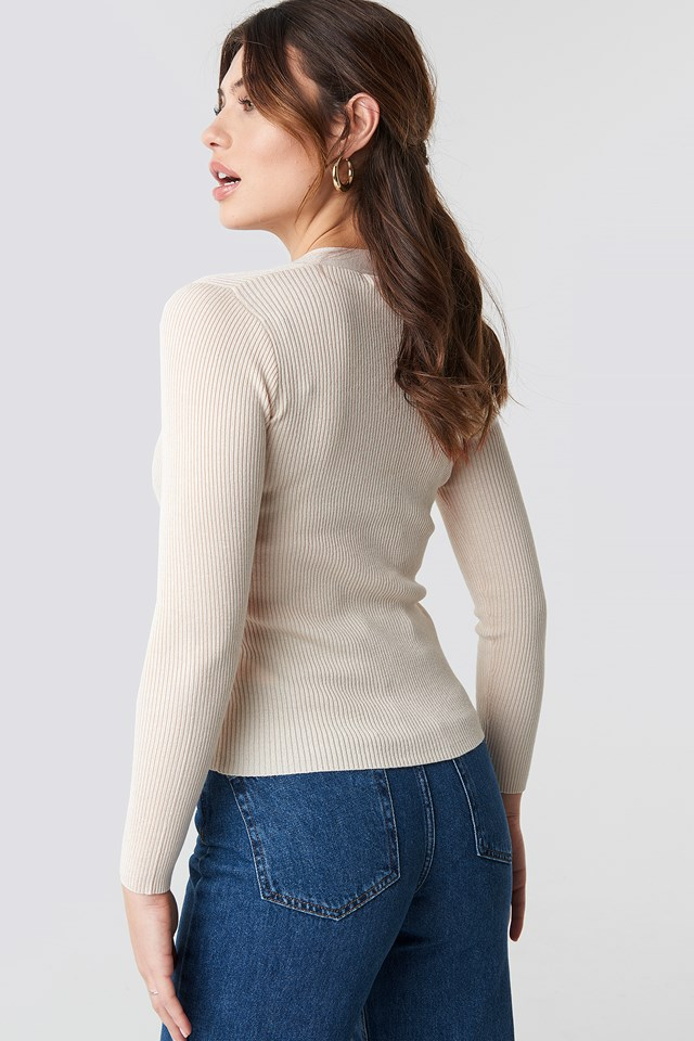 Ribbed Buttoned Sweater Offwhite