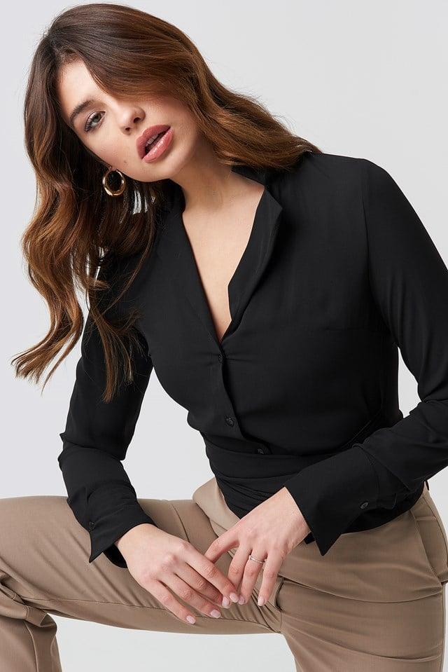 Tied Waist Shirt Black