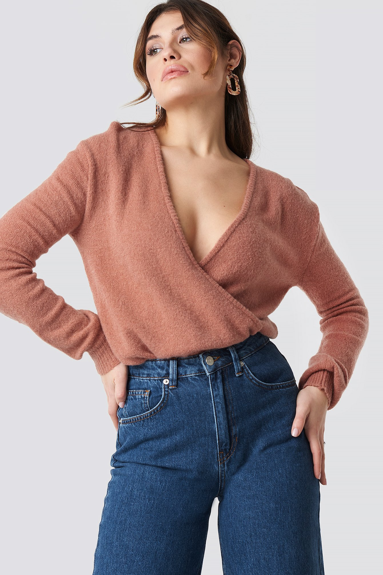 V-Neck Overlap Knitted Sweater NA-KD.COM