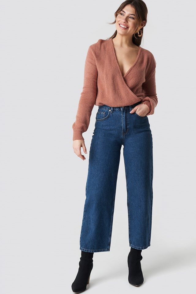 V-Neck Overlap Knitted Sweater Dusty Pink