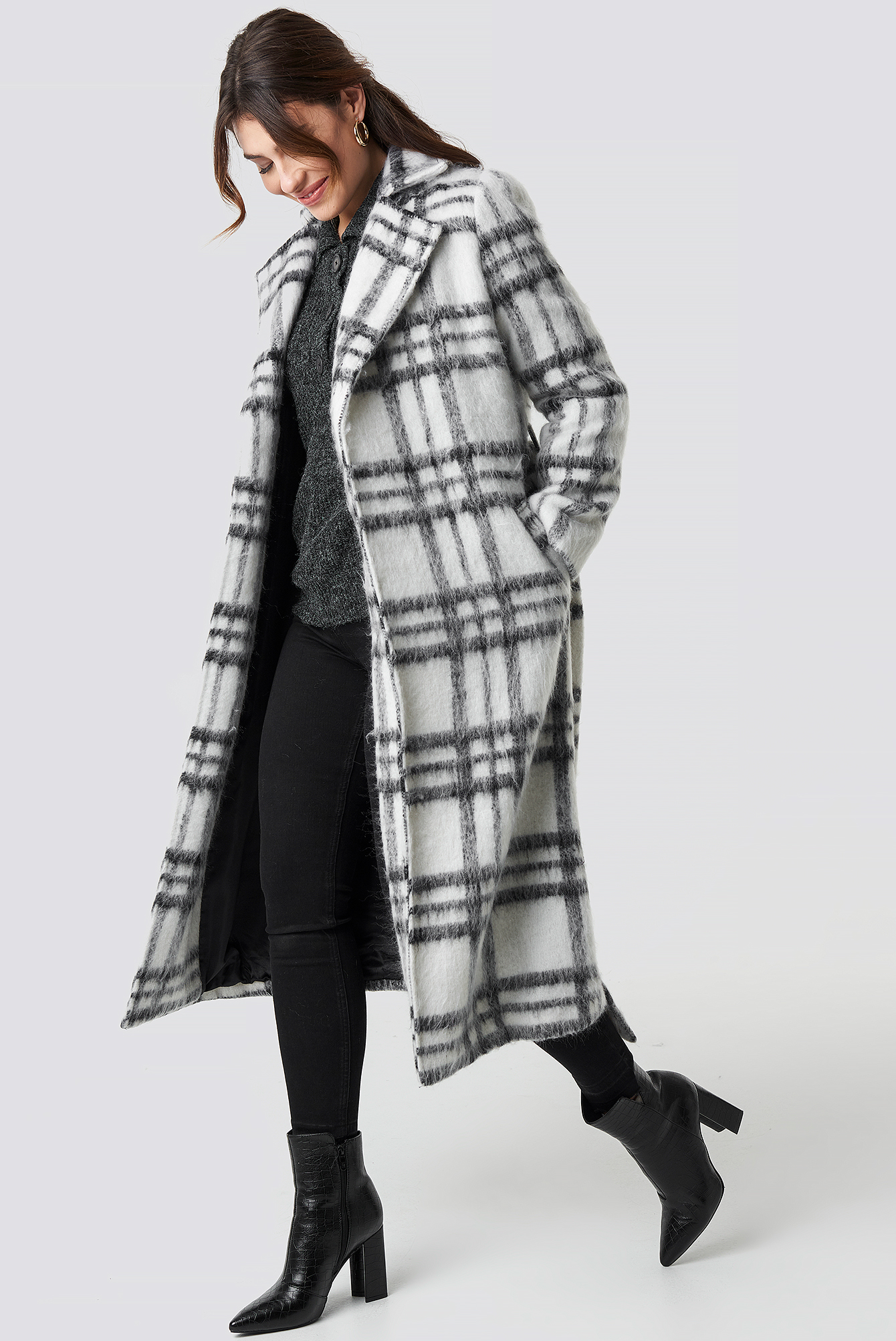 White Checked Coat NA-KD.COM