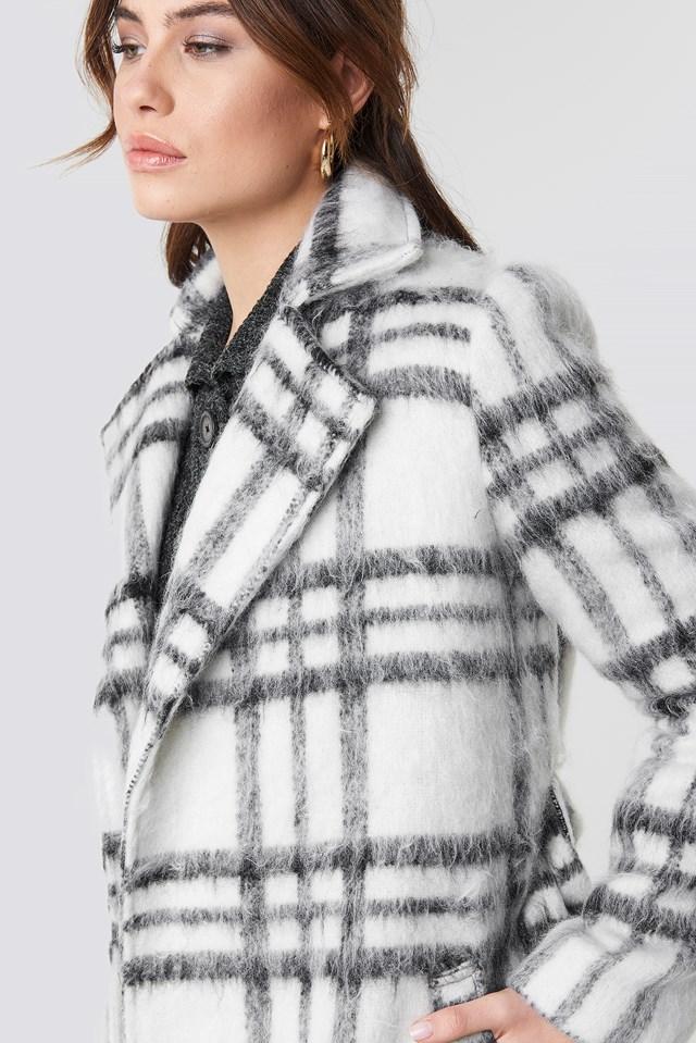 White Checked Coat White