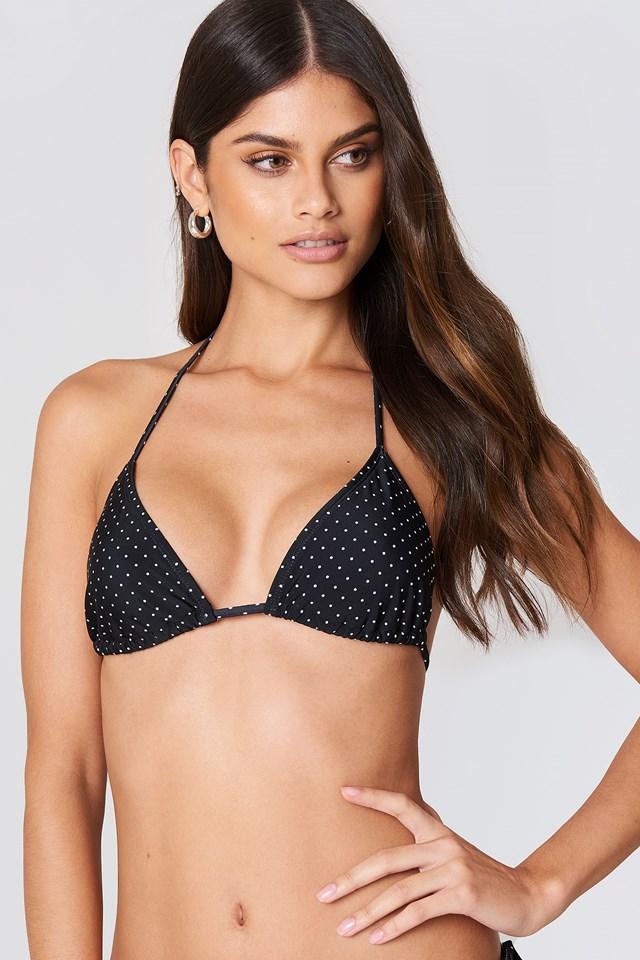 Triangle Bikini Top Black/White Spots