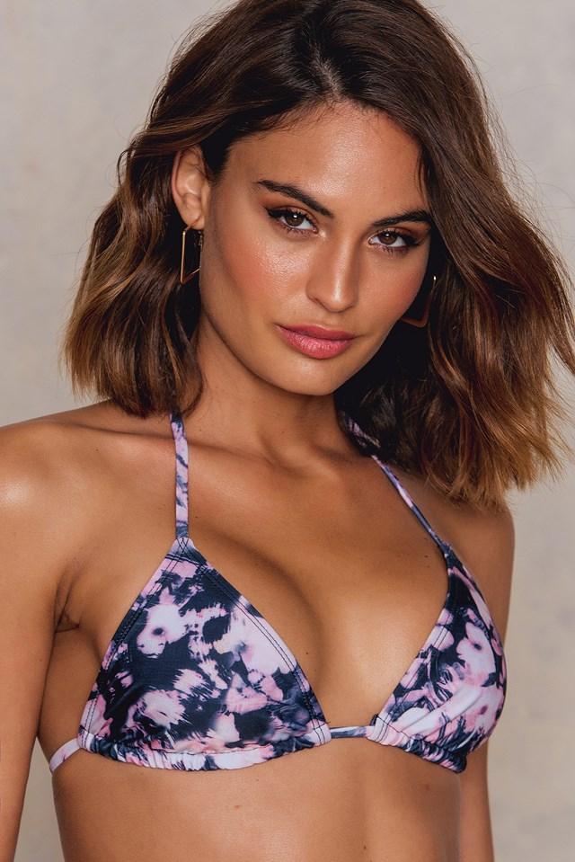 Triangle Bikini Top Black/Pink Print