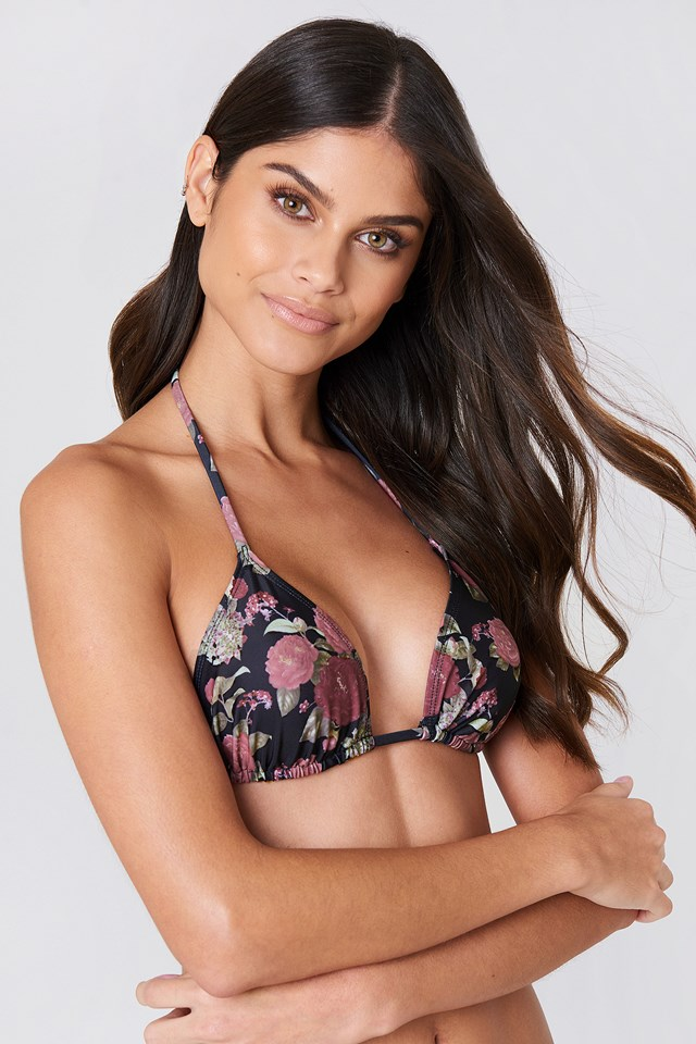 Triangle Bikini Top Black/Flower Print