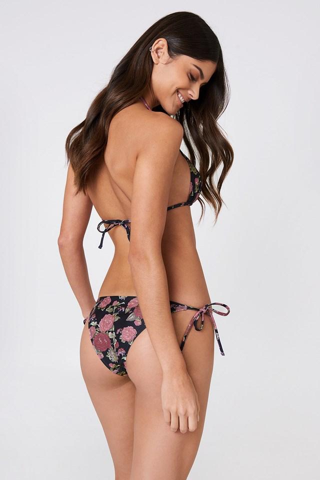 Triangle Bikini Top Black/Flower Print