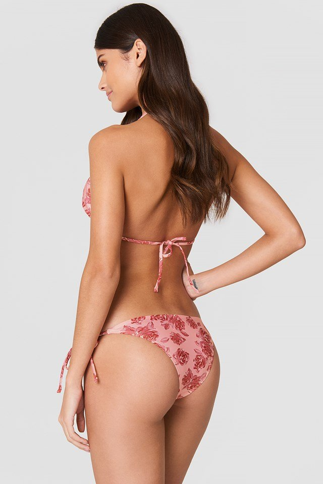 Triangle Bikini Top Pink Rose Print