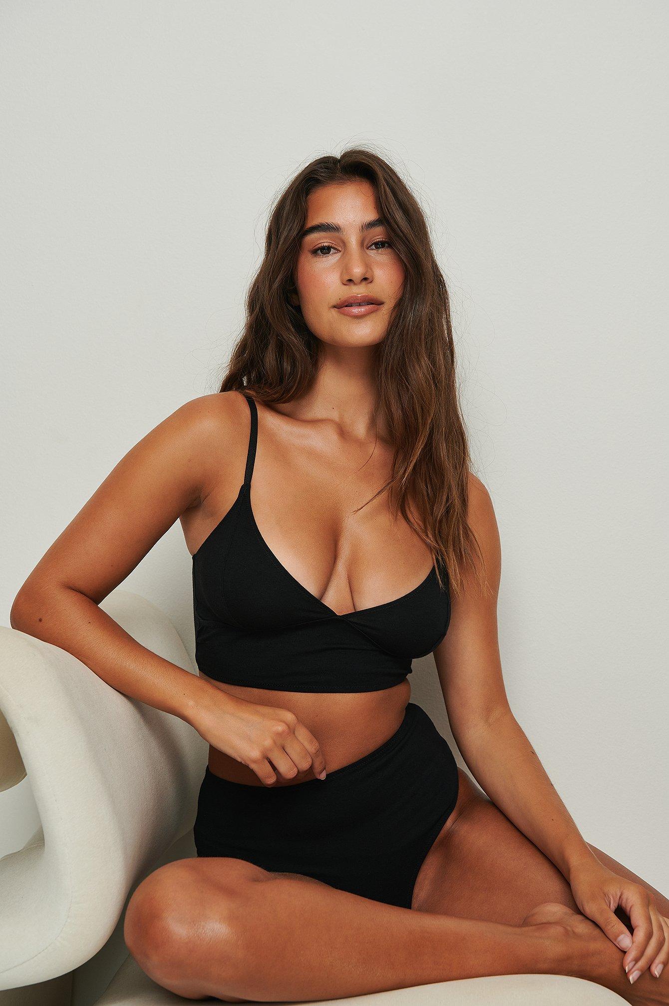 na-kd lingerie -  Triangel-Baumwoll-Bustier - Black