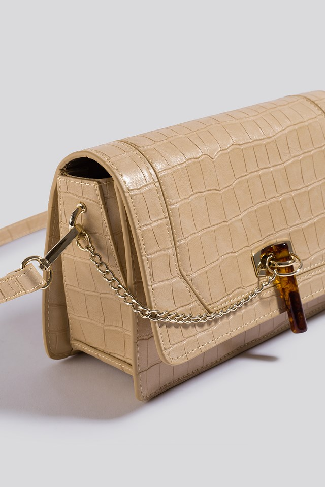 Triangle Loop Crossbody Bag Nude Croco