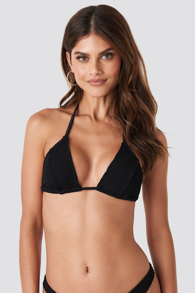 Triangle Smocked Bikini Top Black