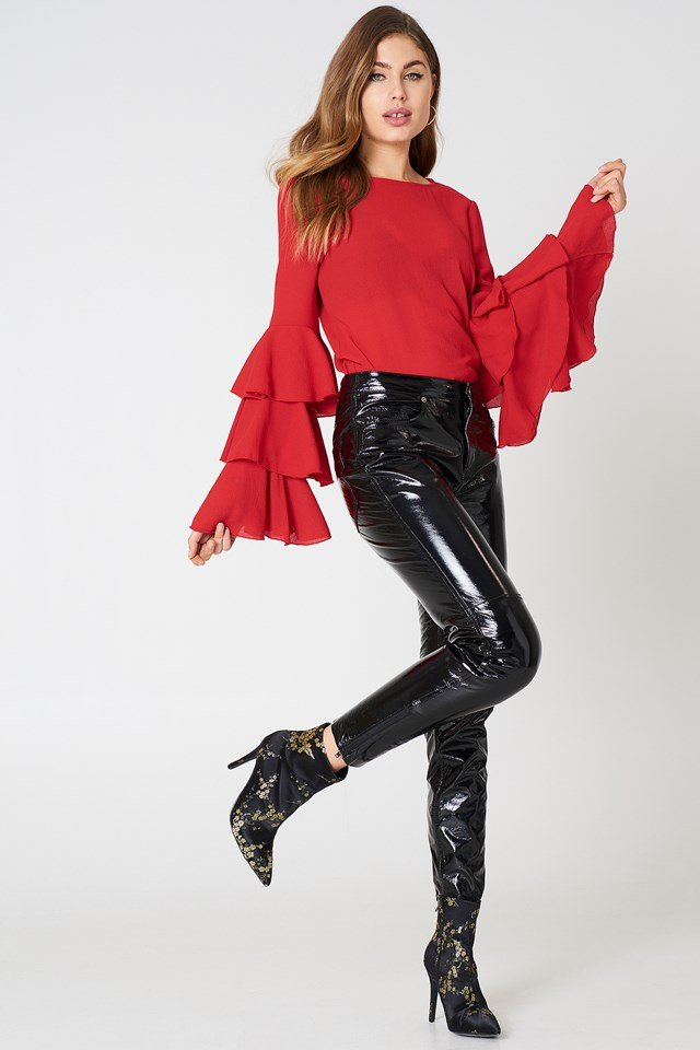 Triple Layer Flounce Blouse Red