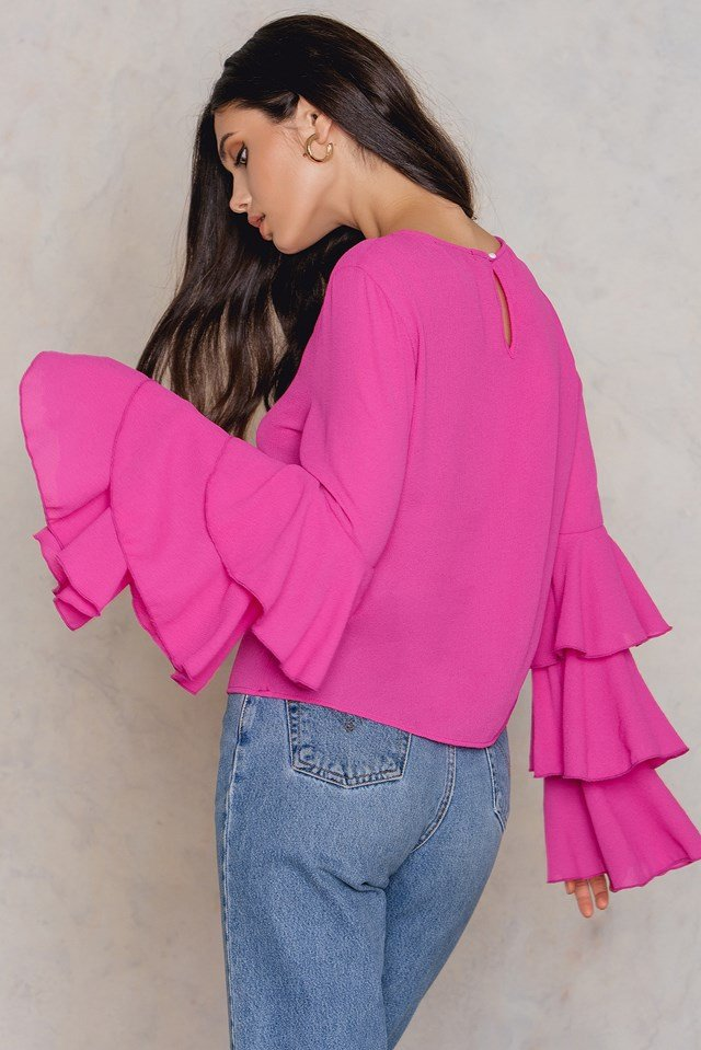 Triple Layer Flounce Blouse Strong pink